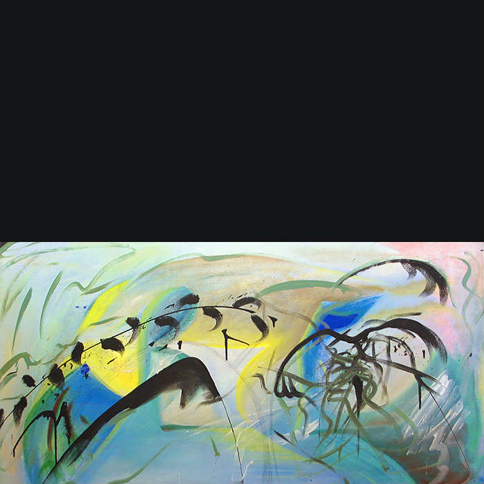 Abstract, yellow, blue, and green, landscape painting with plant and avian shapes that intertwine in an arch across the canvas.