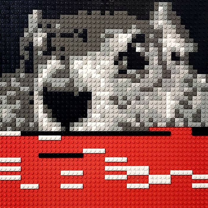 Punxsutawney Phil, rendered in lego, suffers from a video glitch.