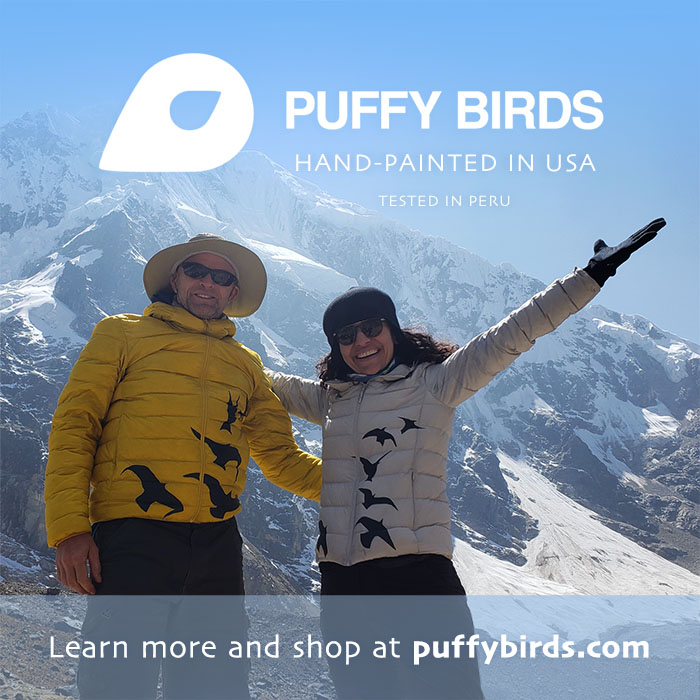 PuffyBirds hand-painted jackets being worn by models in the Andes Mountains in Peru.