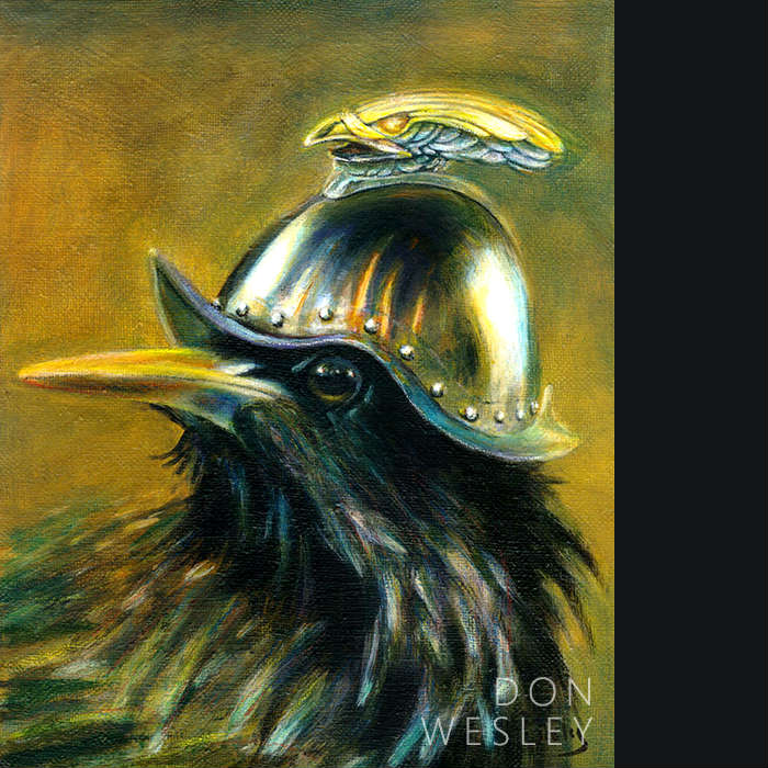 Portrait of a starling wearing a shiny steel Conquistador's helmet. The top of the helmet has a metallic-looking figurine of a bird of prey's head and beak with its eyes lighting up amber. This bird is facing left and staring at you from the side with a slight grin on his face