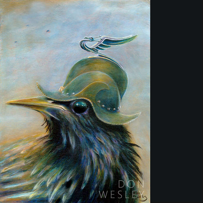 Portrait of a starling wearing a brushed brass Conquistador's helmet. The top of the helmet has a stylized metalic-looking figurine of a very proud peacock with wings . This bird is facing left and staring at you from the side with a slight grin on his face.